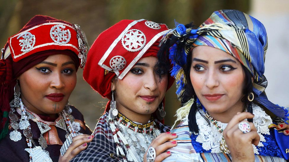 Libyan women attend the national day of the Libyan costume at the Martyrs Square in the capital Tripoli, on March 13, 2019