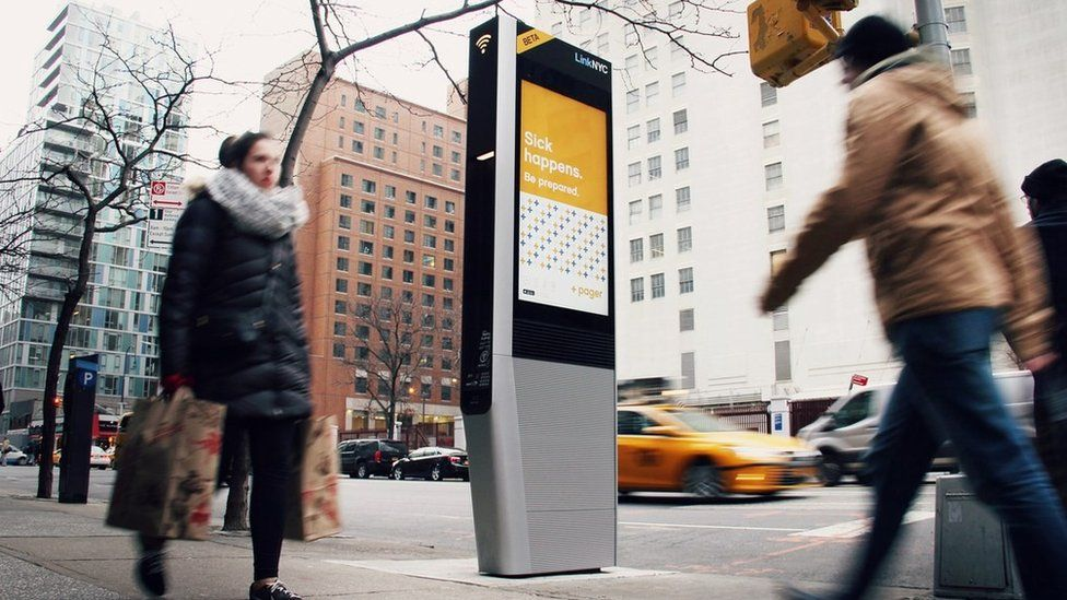 A wi-fi kiosk in New York