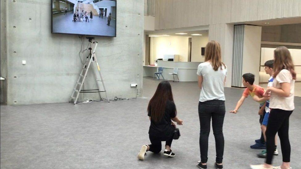 Pupils with digital cat