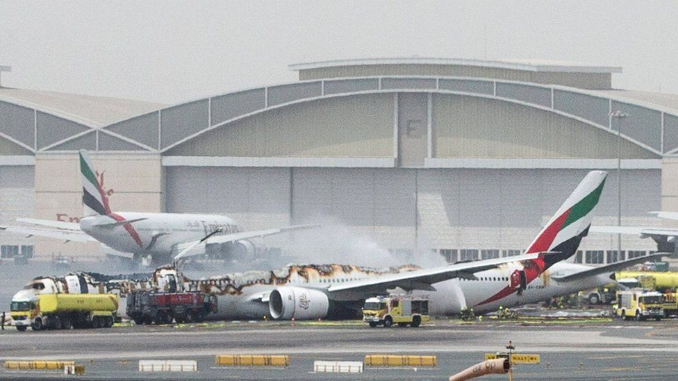An Emirates Airline flight is seen after it crash-landed at Dubai International Airport, the UAE (3 August 2016)