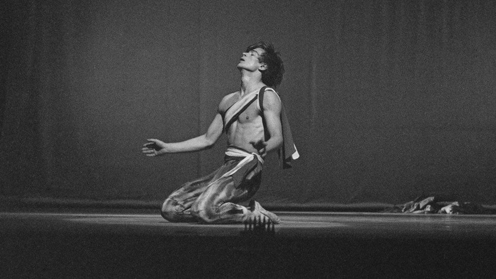 Russian ballet dancer Rudolf Nureyev rehearses for his London debut at the Theatre Royal on Drury Lane in 1961