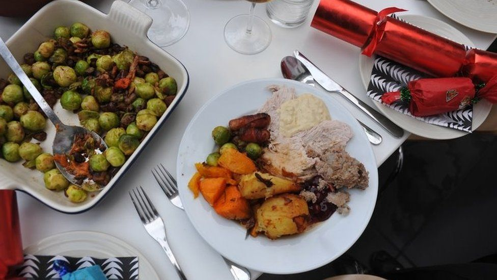 A traditional Christmas dinner