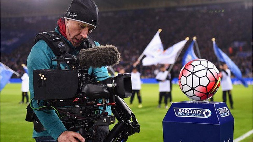 A camera man films prior to the Barclays Premier League match between Leicester City and Newcastle United at The King Power Stadium on March 14, 2016