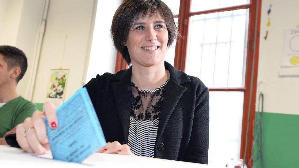 Italian anti-establishment 5-Star Movement (M5S) Turin mayoral candidate Chiara Appendino on 19 June