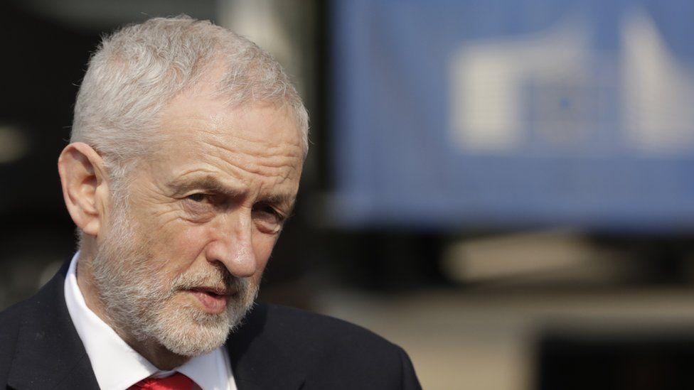 Jeremy Corbyn speaking after the talks in Brussels