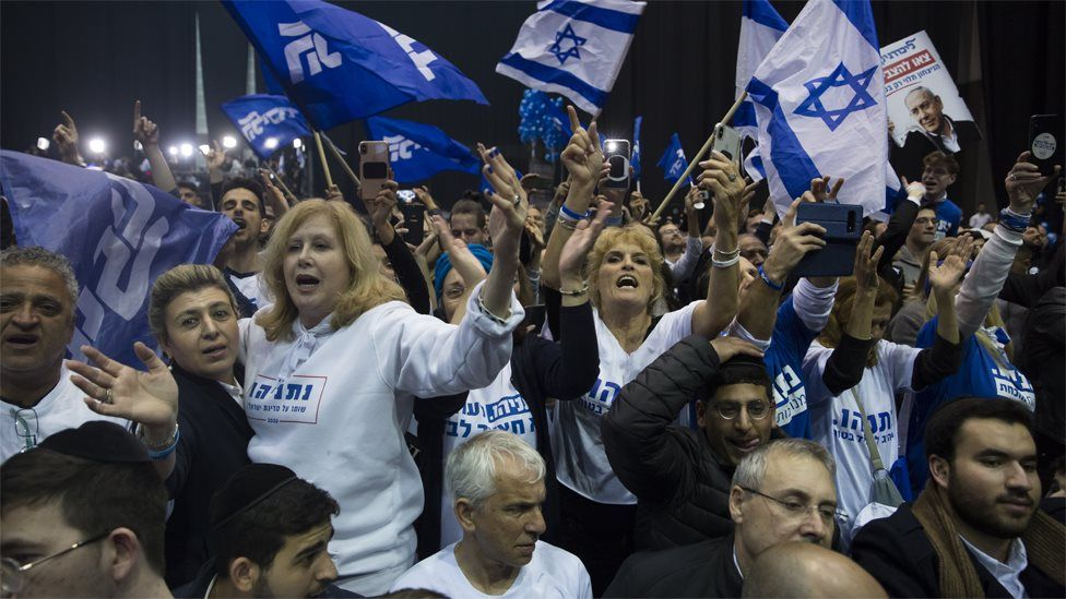 Supporters of Israel's Likud party celebrate at its election headquarters on 3 March 2020