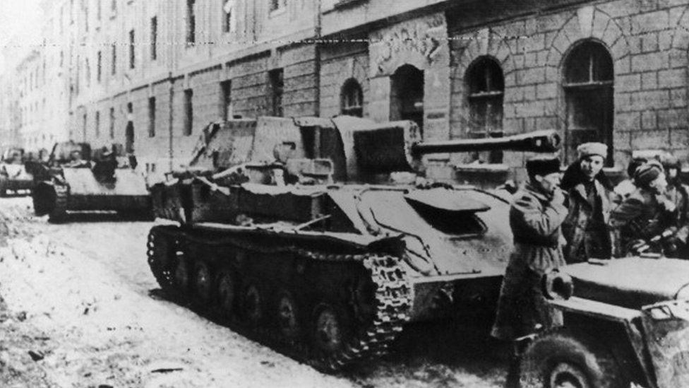 Russian tanks and soldiers in the streets of Budapest in 1945