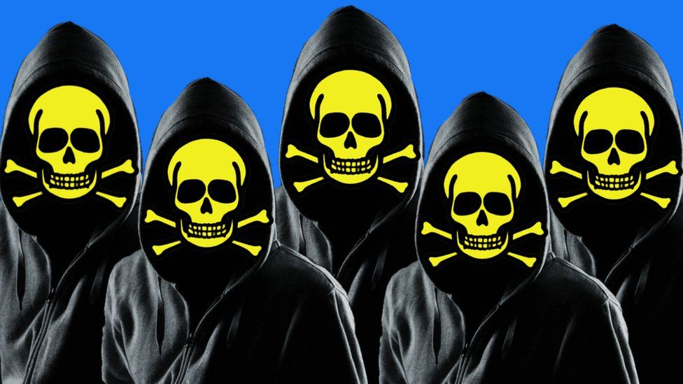 Illustration of suspicious-looking hackers with the symbol of poison on their faces
