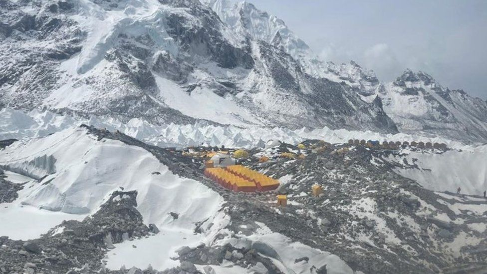 Everest base camp aerial view