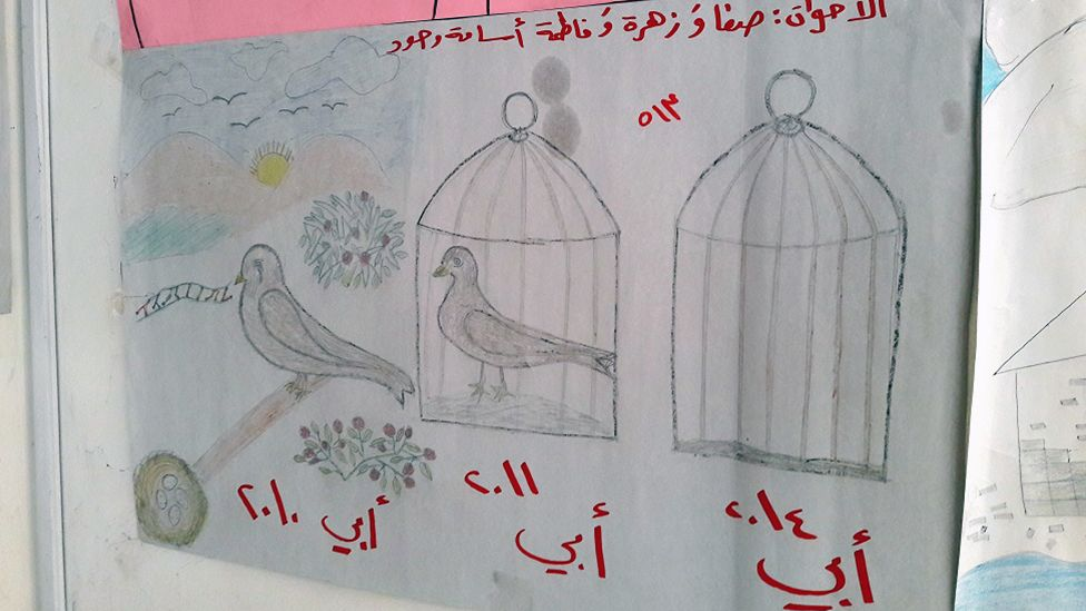 The drawing of a Syrian refugee boy showing a bird singing, then the same bird appears in a cage and then an empty cage.