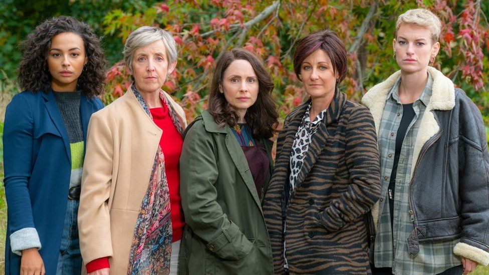 The Pact stars (left to right) Abbie Hern, Julie Hesmondhalgh, Laura Fraser, Eiry Thomas, and Heledd Gwyn