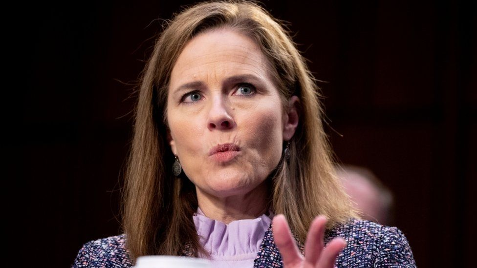 Amy Coney Barrett during her confirmation hearings for the Supreme Court
