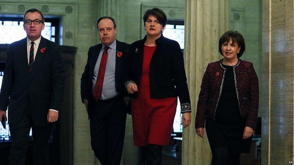 Nigel Dodds (centre left), Arlene Foster and other DUP politicians