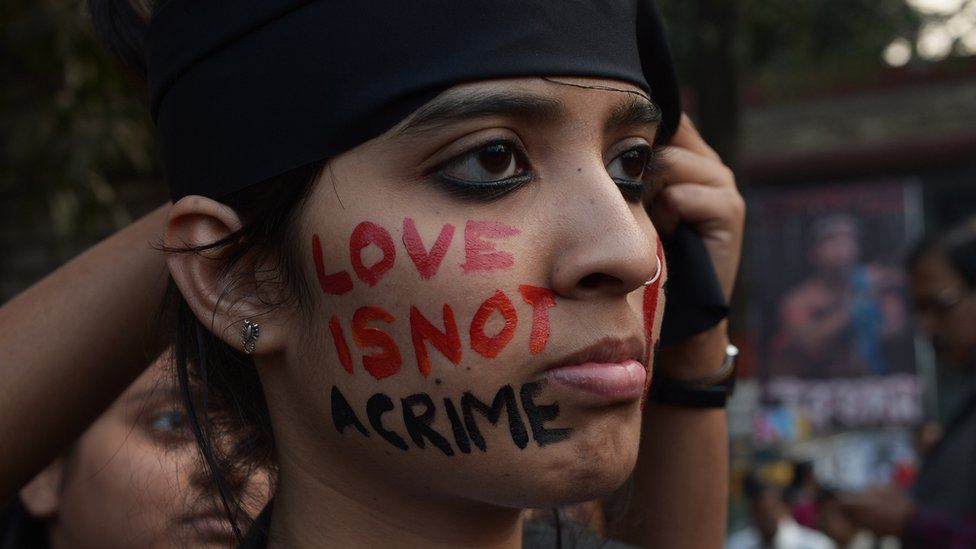 An Indian gay rights activist protests a ruling in the Supreme Court in 2013 that upheld a law which criminalises gay sex.