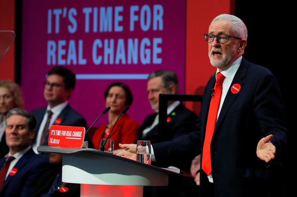 Jeremy Corbyn speaking at the release of the Labour Party manifesto