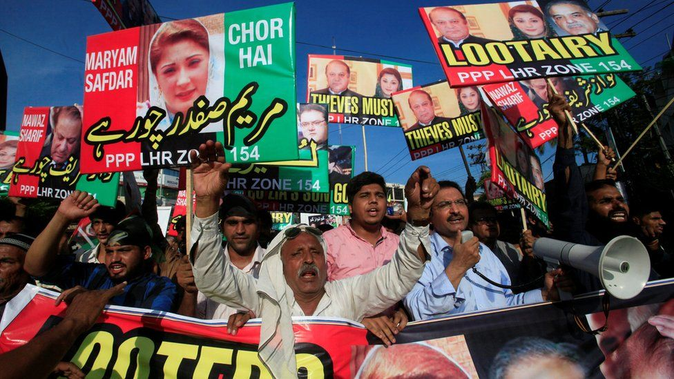 Protesters carry placards of Pakistani Prime Minister Nawaz Sharif and his daughter Maryam as they call for his resignation during a demonstration in Lahore, Pakistan, on 23 July 2017