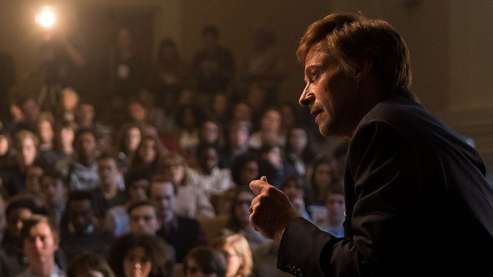 Hugh Jackman as Gary Hart in the film The Front Runner