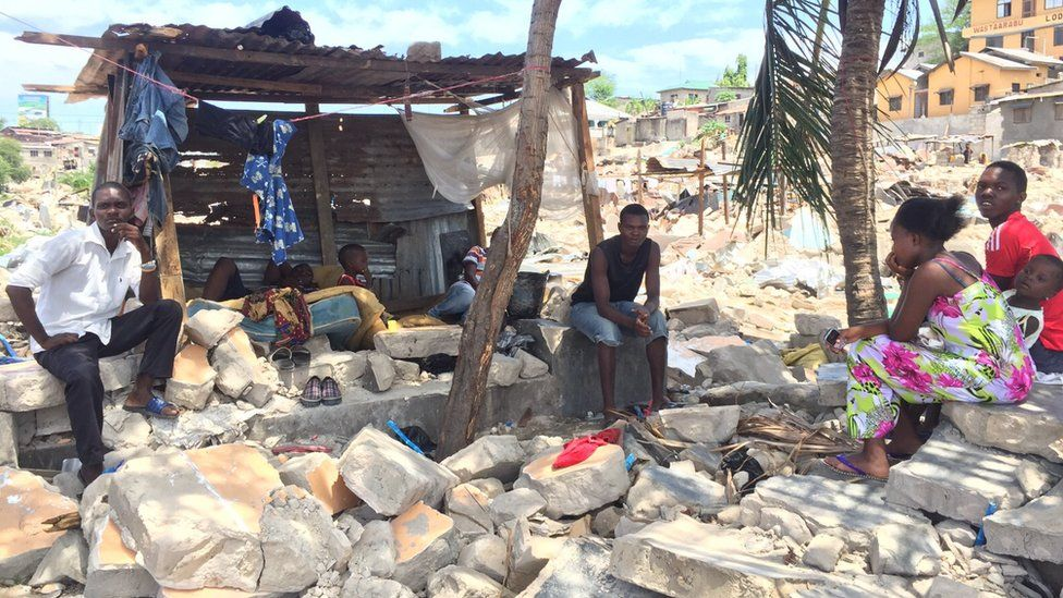 A family living in a makeshift house in Dar es Salaam after demolitions, Tanzania