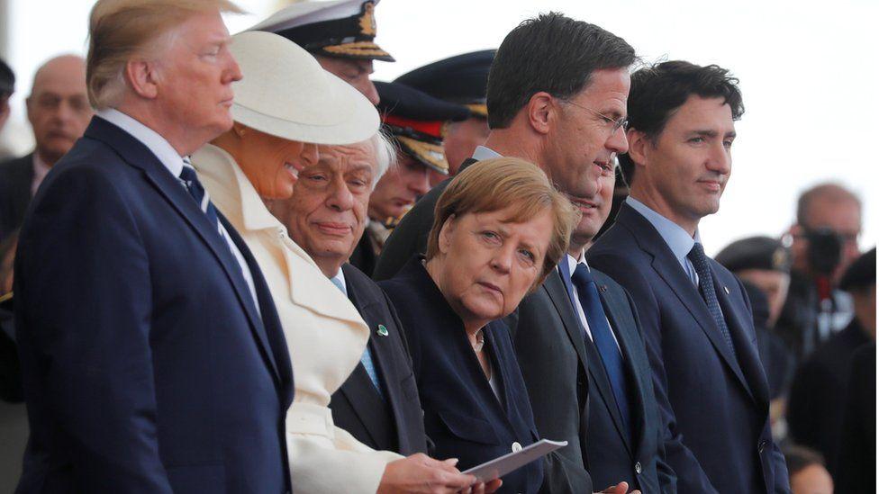 U.S. President Donald Trump, First Lady Melania, German Chancellor Angela Merkel, Dutch Prime Minister Mark Rutte and Canada's Prime Minister Justin Trudeau