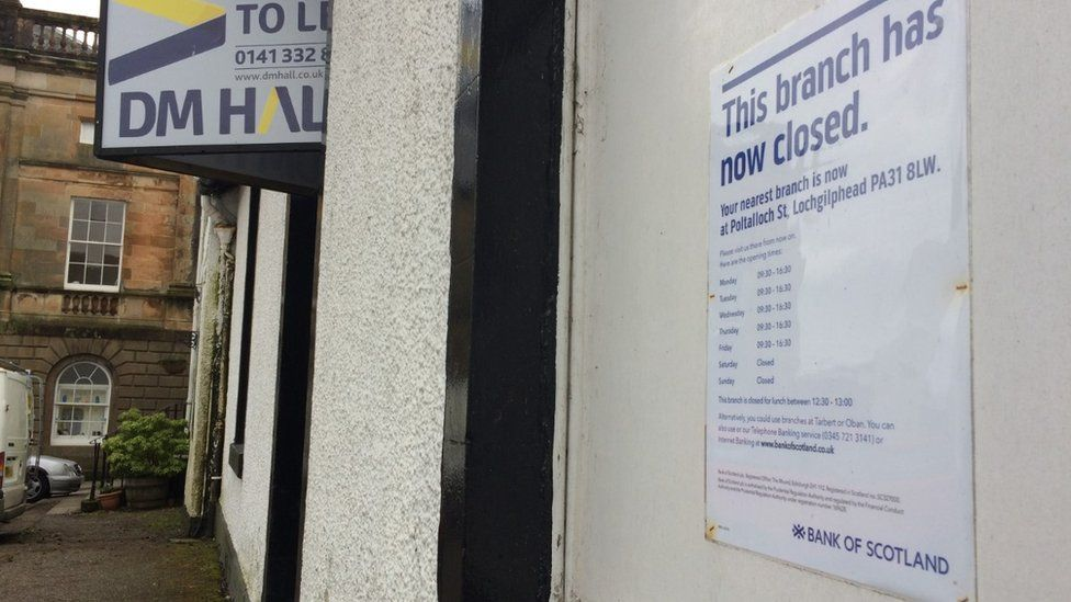 Bank of Scotland notice in Inveraray