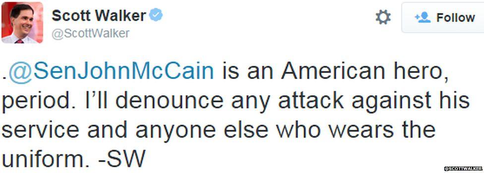 A tweet from Republican presidential candidate Scott Walker