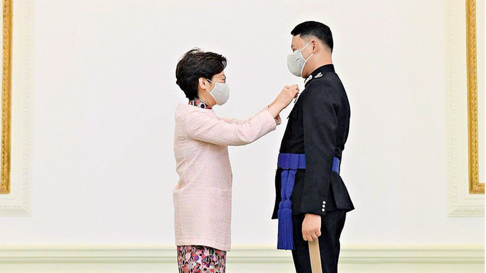 Carrie Lam and Frederic Choi