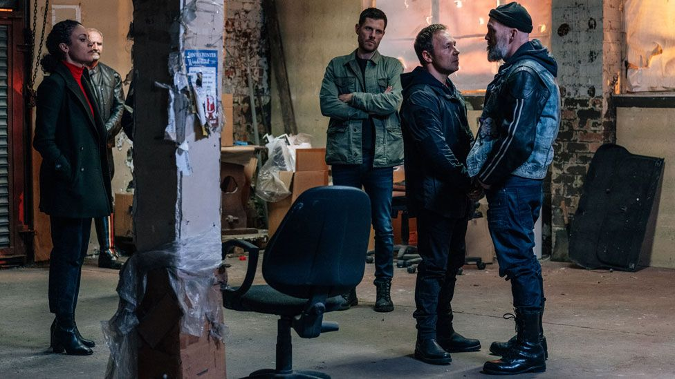 Rochenda Sandall and Stephen Graham with other cast members in Line of Duty