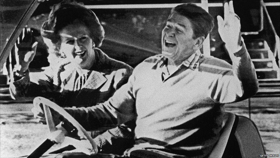 Ronald Reagan a Margaret Thatcher yn Camp David yn 1984