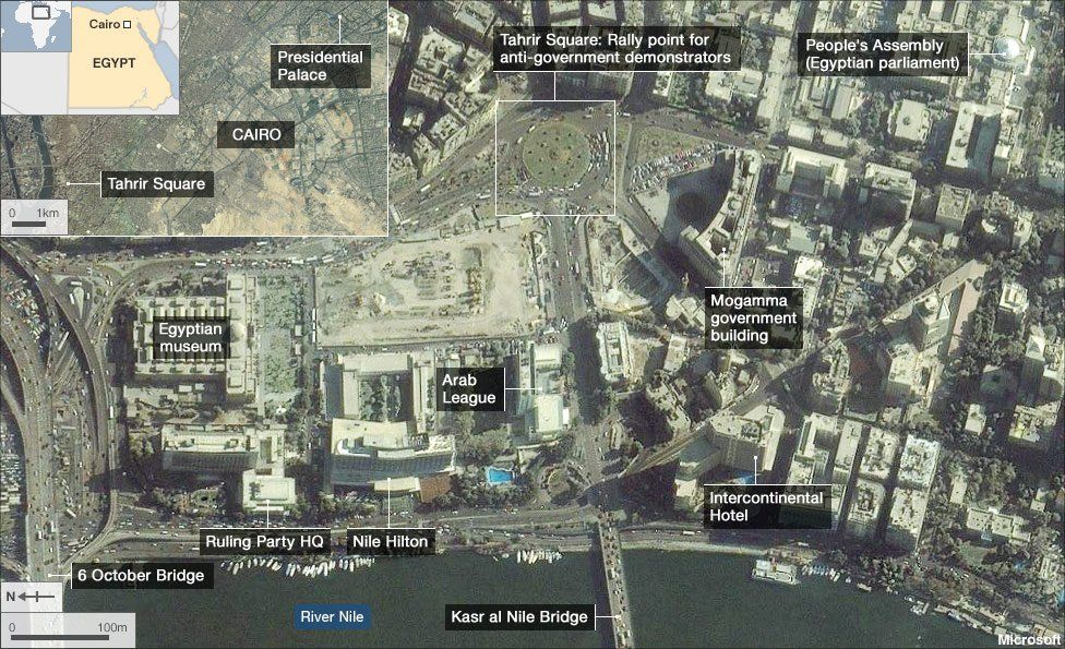 Map showing key Cairo protest locations