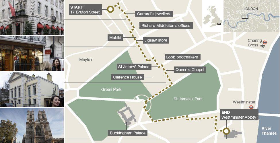 Map of royal wedding walking tour in London