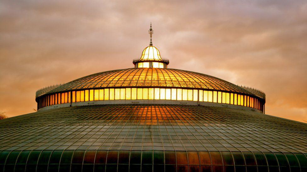 Sunset over the Kibble Palace, Glasgow