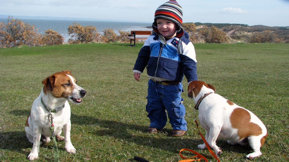 Luke with dogs Cooper and Ellie