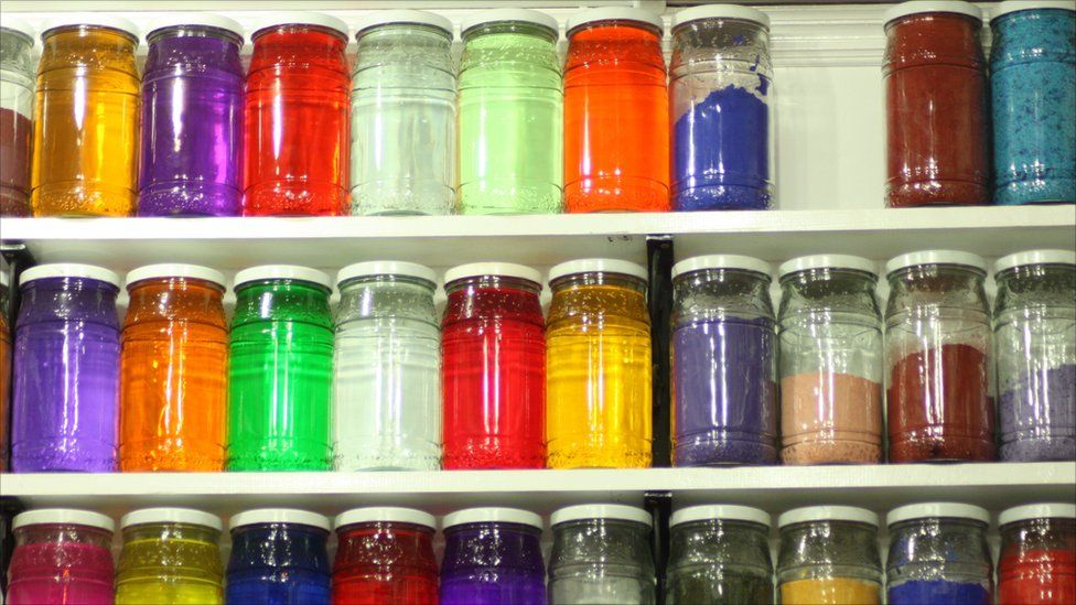 Jars with coloured water