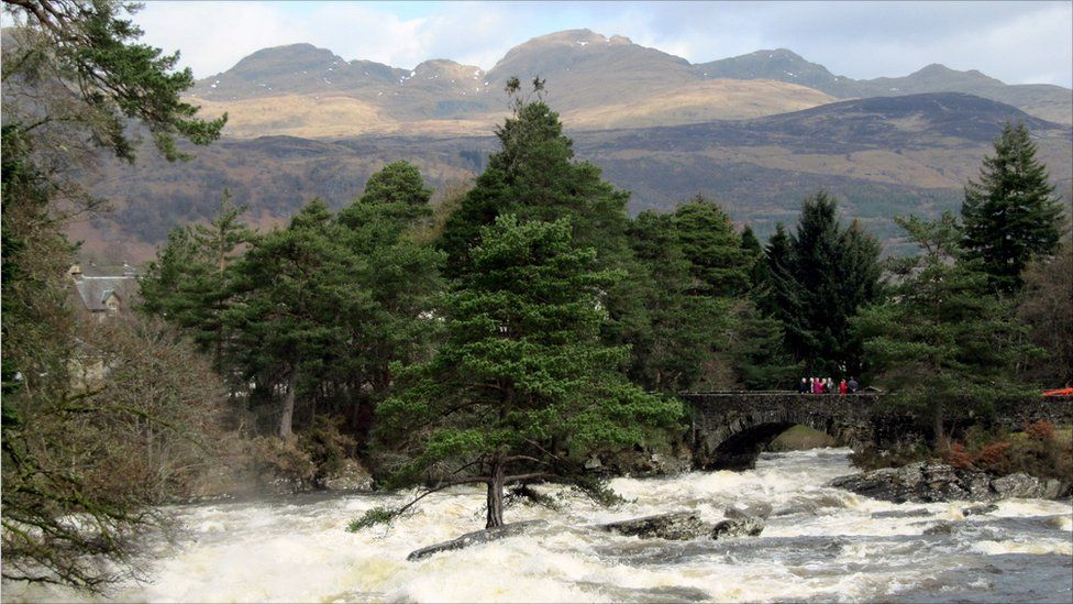 Falls of Dochart with Meall nan Tarmachan in the background