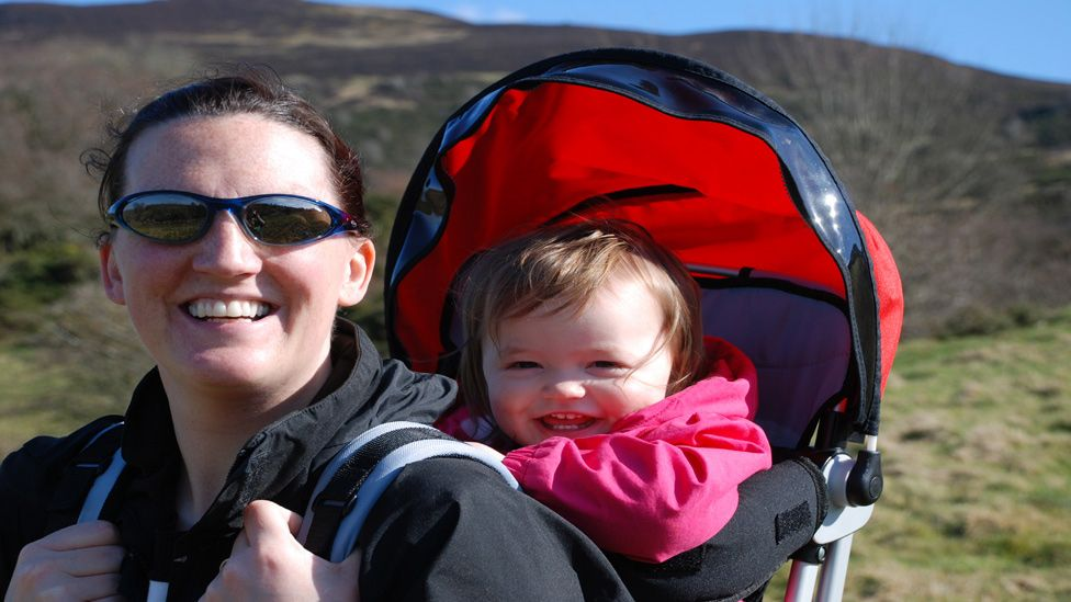 Lynsey and daughter Lia on the Eildon Hills