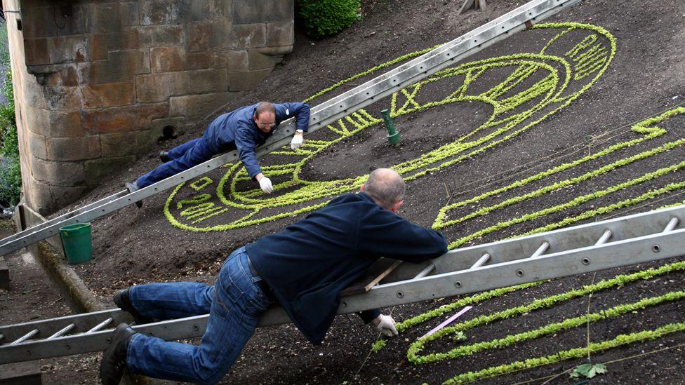 Men planting flowers in Princes Street Gardens