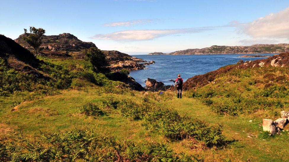Man walking on the Isle of Raasay
