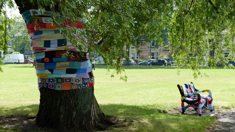Tree trunk and bench wrapped in scarves