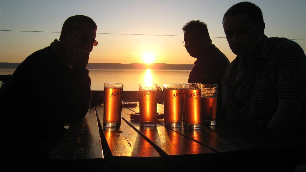 Drinkers at sunset