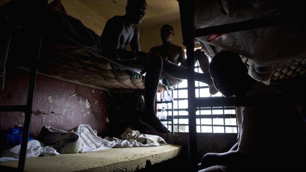 Prisoners on bunk beds in Liberia's Monrovia Central Prison - 2011