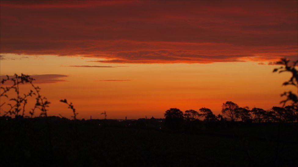 Sunrise in Crossford, Fife, looking towards Dunfermline