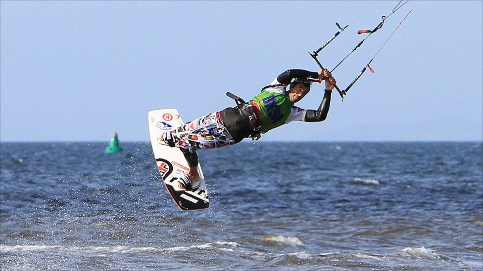 Competitor at the British Kitesurfing Association's Kiteival event held at Ayr