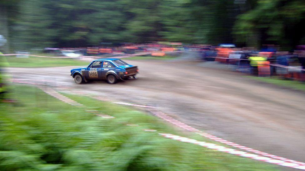 Rally car on a race track