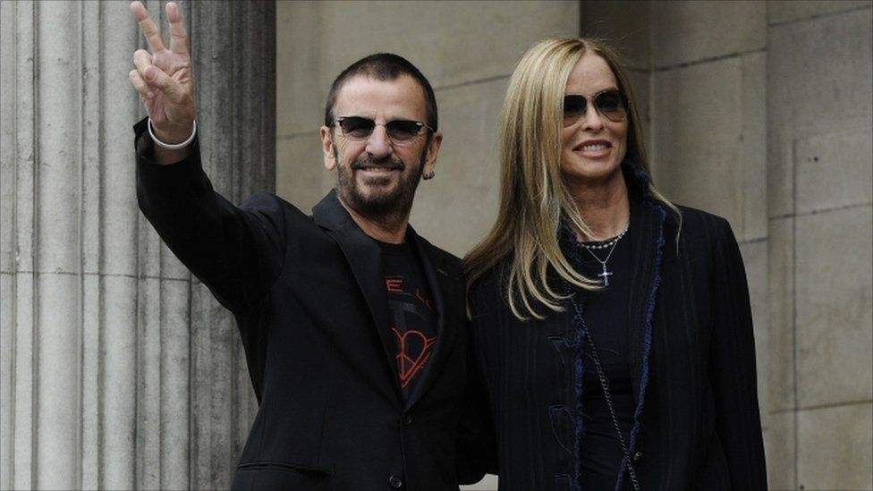 Ringo Starr and Barbara Bach arrive for the wedding
