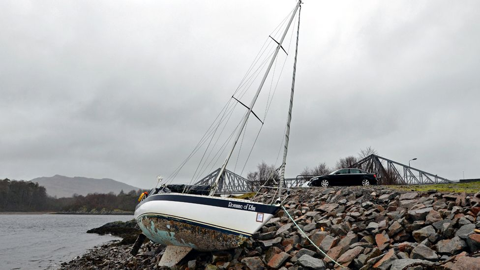 Boat stranded on the shore