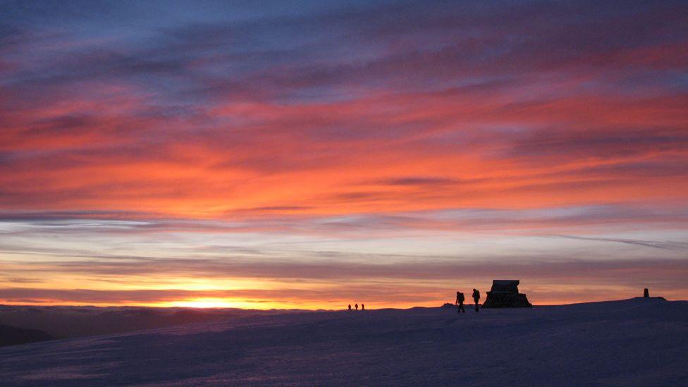 Sunset on the summit of Ben Nevis