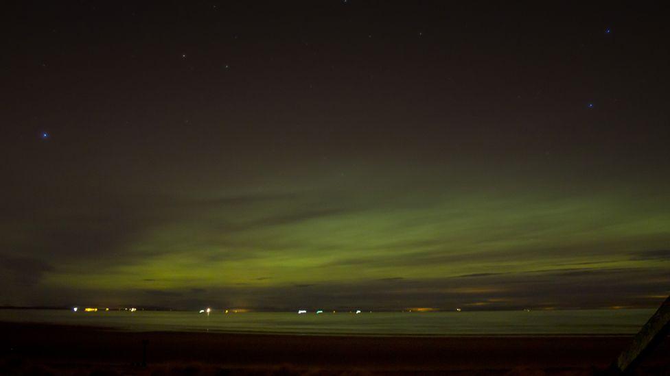 Northern Lights over Findhorn beach
