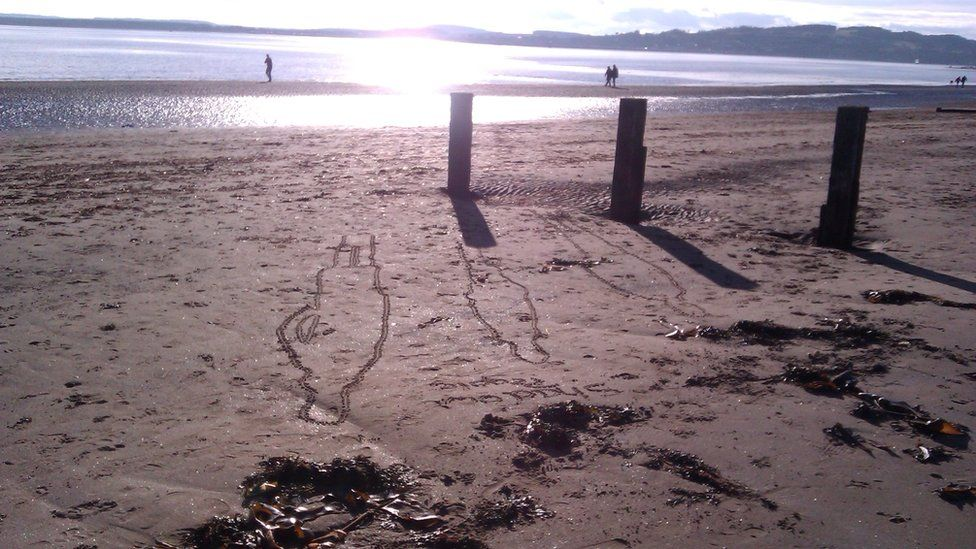 Outline of figures in the sand