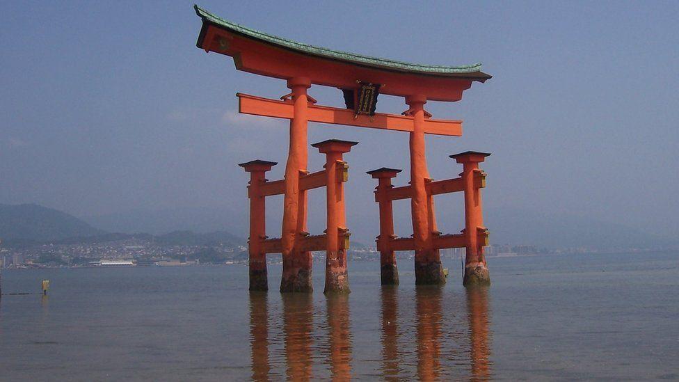 The torii (gate) of Itsukushima.