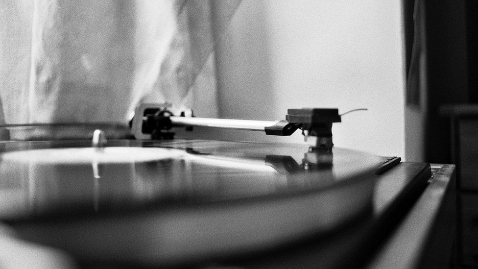 A record turntable